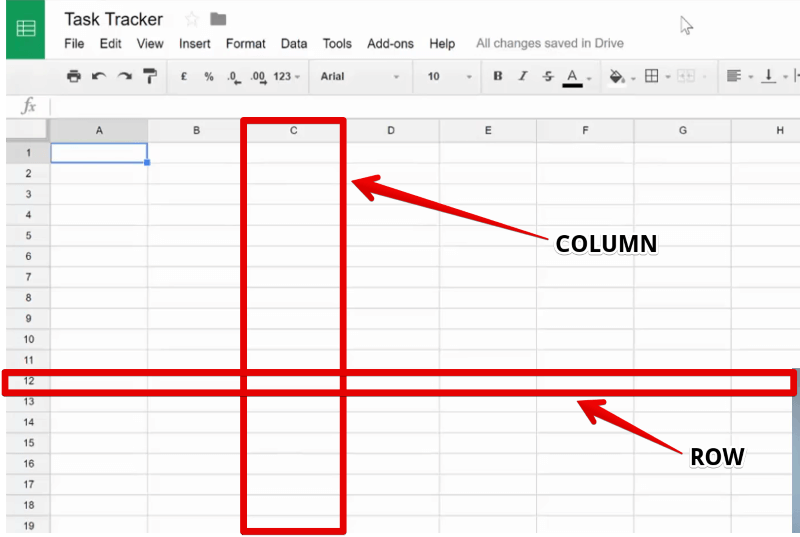 Row and Column in a Google Sheet